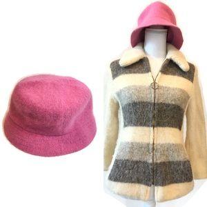 Betmar Women's Pink Angora Wool Bucket Winter Hat